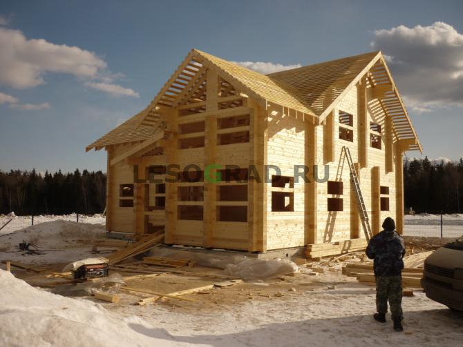 Строительство дома из бруса зимой